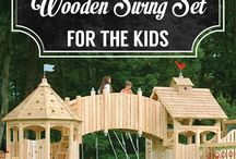Wooden swings, tree houses and climbing frames.