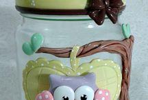 potes decorados de biscuit