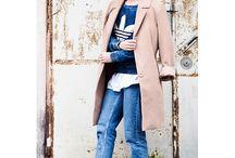 Boyfriend jeans flats and long coat