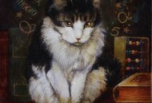Cat with books art