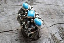 Gemstone Rings / Beautiful gemstone rings made with Sterling Silver sold at The Turquoise Mine.