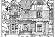 dibujos casas, calles..