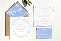 Cornflower blue wreath wedding stationery collection