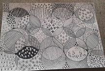 Mina egna Zentanfle / Zentangle som jag gjort eget mönster till