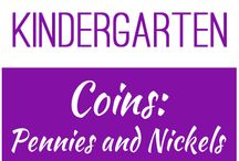 Kindergarten: Coins - Pennies and Nickels / This board contains resources for Texas TEKS K.4