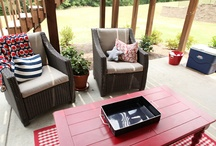 Red, White & Blue : Patriotic Patio  / Red, white & blue:  All things patio and patriotic.  Has a nice ring to it!