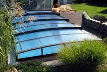 Posuvné zastřešení bazénů - nízké / Posuvné zastřešení bazénu nízkého typu od Alukovu, výrobce kvalitních zastřešení bazénů, teras a vířivek.