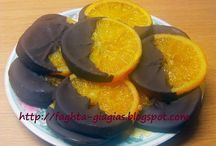 orange slices with chocolate