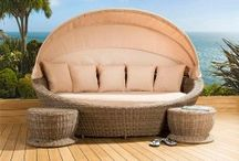 Garden outdoor rattan daybeds and sunbeds
