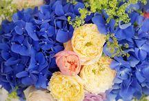Aranjament floral albastru din hortensia