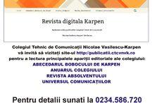 Publicatii CTCNVK / Colegiul Tehnic de Comunicații Nicolae Vasilescu-Karpen vă invită să vizitați site-ul http://publicatii.ctcnvk.ro/ pentru a lectura principalele apariții editoriale ale colegiului: ABECEDARUL BOBOCULUI DE KARPEN, ANUARUL COLEGIULUI, REVISTA ABSOLVENTULUI, UNIVERSUL COMUNICAȚIILOR