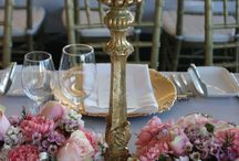 Table Decoration and  Centerpieces / Decor It Events reception decor features tablescapes of floral centerpieces , greenery and candelabra,