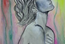 Watercolor painting women / watercolor painting