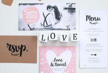 TROUWHUISSTIJL / Combineer trouwkaartjes, stickers, labels, tafeldecoratie en posters tot een eigen huisstijl