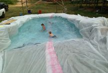 pool using hay bales