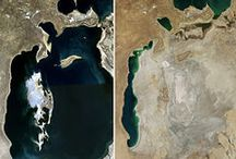 Aral sea / Formerly one of the four largest lakes in the world with an area of 68,000 km2 (26,300 sq mi), the Aral Sea has been steadily shrinking since the 1960s after the rivers that fed it were diverted by Soviet irrigation projects. By 2007, it had declined to 10% of its original size, splitting into four lakes – the North Aral Sea, the eastern and western basins of the once far larger South Aral Sea, and one smaller lake between the North and South Aral Seas.[