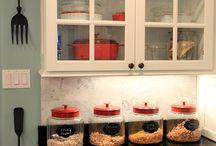 Kitchen - white & grey with splashes of red