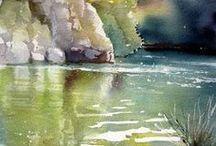 вода акварель