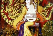 CUNDE WANG / La crítica define su pintura como vital, estimulante, simbólica. Se graduó en la  Academia Central de Arte y Diseño en 1969, y trabajó  durante 12 años en el diseño textil. Se incorporó al Instituto de Diseño Industrial de Beijing en 1982 como profesor y se convirtió en el Jefe del Departamento de Decoración. Cunde Wang es también un miembro de la Sociedad de las Artes de Beijing y ganador de numerosos premios y reconocimientos.En 1988 emigró a Australia.