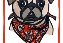 Bandana Pug Illustration / So I have a new found obsession. Which is to draw animals with bandanas. So far pugs are the victims of this obsession of mine, Enjoy! Oh! And If you want to buy your own pug gift card or other objects with my design on them check out my Redbubble account. Super cheap, and makes for a nice gift!  http://www.redbubble.com/people/aktasli/works/13101937-pug-christmas-card