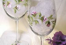 Painted and decorated bottles and glasses