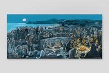 Mariscal Los Garriris Colección / Piker, Fermin & Cia., son la troupe de Los Garriris, unos desvergonzados outsiders que recorren playas, bares, pistas de baile y pescan en aguas plácidas lunas y chicas.  Cómics, carteles, prints, ilustraciones, bocetos...
