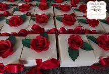 caixa de casamento com flor de papel