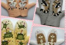 Валяные варежки, перчатки
