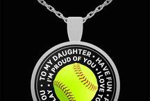 Softball Daughter Pendant Necklace