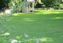 A country garden / This is a handsome country garden set on an unusually shaped plot which slopes gently down towards a river.