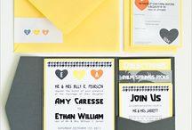 yellow wedding invitations / by InvitesWeddings