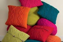 Colourful knitted cushions