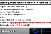 Jobs: 2D, 3D, Animation, VFX, Motion Graphics, Editing, / We provide you latest VFX, Stereoscopy, 2D, 3D and other Post Production Job Requirements.  To get the complete listing of available jobs, please follow : http://www.thevirtualassist.net/jobs