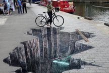 Admire: Trompe-L'oeil / amazing form of art, most of the time, in murals involving realistic imagery creating an optical illusion. many cities around the world use it to embellish side facades of buildings