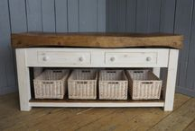 Butchers Blocks / Reclaimed antique original butchers blocks are a great feature in any kitchen. Original butchers blocks on the original stands are a very practical piece of furniture especially bases with drawers.  They come in lots of different sizes and start at 1ft square the most popular sizes being 4ft x 2ft wide but can go up to 6 feet long. We refurbish the blocks ready for use and we can paint the base any bespoke colour. Butchers blocks are often used as central islands and look stunning.