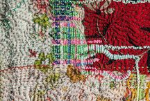Texture in threads / Fiber art, stitching on the weave of fabric, the color palette, they bring a sensibility of beauty. The works of the hand and eye!