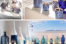 chambre ambiance méditerranéenne / Chambre parentale sur un thème Bleu et Blanc