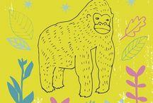 Monkeys / Illustrated monkeys, apes, etc. / by Wolf Whistle - Illustrated Wedding Stationery