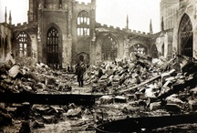 Coventry Cathedral,    The old and the new. / Destroyed by Germany.  On 4th November 1940.   Rebuilt after the end of the war.