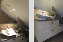 Agencement Salle de Bains Sous Combles / Retrouver nos agencements de meuble de salles de bains sous rampant.