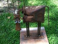 Junk metal yard art