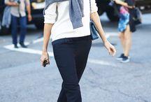 ■cardigan&sweater tied around shoulder