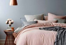 Bedroom / Rose gold/copper and grey bedroom