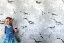 Bird wallpaper and fabrics / Our designs with birds, on cushions, fabric, wallpaper and prints. For Home interiors.