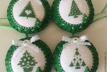 kerstboomhangers borduur en vilt
