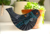 My work: Wooden Birds / Wooden birds, hares, wildlife,  Michelle Campbell Art. Licensed Art, Licensing, Art for Licensing.