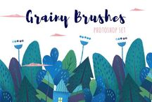 Photoshop & Procreate Brushes / Grainy brush collection #texture #illustration #grain