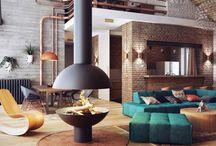 Brick walls living room
