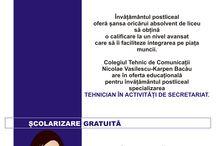 Învățământ posliceal la Colegiul Karpen Bacău / Colegiul Tehnic de Comunicații Nicolae Vasilescu-Karpen Bacău are în oferta educațională pentru învățământul posliceal specializarea Tehnician în activități de secretariat.  Pentru detalii, nu ezitați să ne contactați telefonic (0234.586.720), prin email (secretariat@ctcnvk.ro) și, de ce nu, vizitându-ne la sediul din Bacău, strada Mioriței Nr. 76 bis.