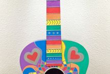 Upcycled Musical Instruments / Guitars and other repurposed and upcycled musical instruments, either painted by me or others I find on the internet.